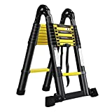 LARS360 5.0m Escalera Plegable Negro Telescópica Multifunción Escalera Extensible Multiusos Escaleras de Aluminio, 16 Escalones Escalera Plegable Portátil para Interiores y Exteriores Carga 150KG