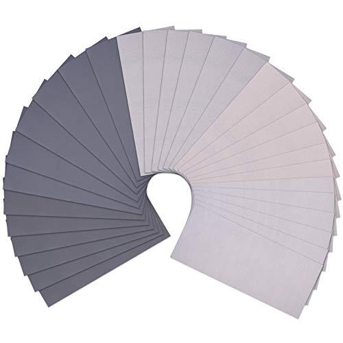 SIQUK Schleifpapier Set, 30 Stück Schleifpapier Nass und Trocken Sandpapier 2000, 3000, 5000, 7000 10000 Körnung Schleifpapier Sortiment für Holzmöbel Metall Glas, 23 x 9 cm