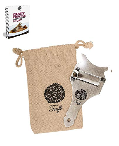 5? Truffle Slicer & Chocolate Shaver with Chic Fabric Bag, Recipe E-Book & PDF User Guide. Trim Those Truffles! Also Shaves Cheese, Garlic, Mushrooms & Veg! Premium Stainless Steel & Adjustable Blade