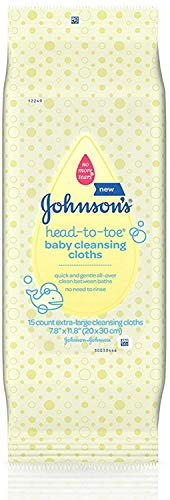 Johnsons Head-To-Toe Baby Cleansing Cloths 15 ea (10 Pack)