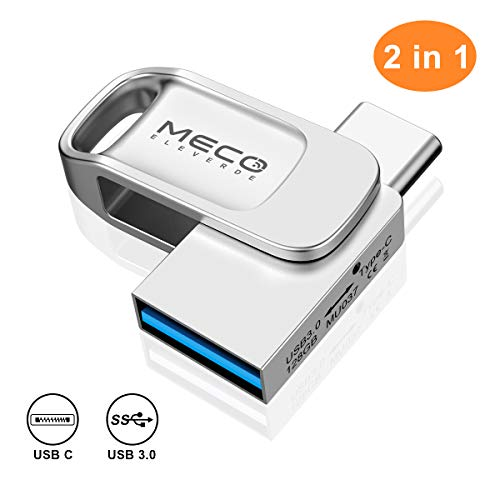 USB Stick 128GB, MECO ELEVERDE USB C Stick 2-in-1 USB 3.0 OTG Speicherstick wasserdichte Flash Drive Memory Stick für PC/Laptop/Notebook/Typ-C-Handy, usw