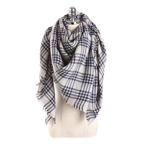 Alvnd Mode sjaal Unisex Kleurrijke raster Double Face Deken Square Classic Tassel Plaid sjaal warme zachte sjaal 140 * 140cm Colour 17