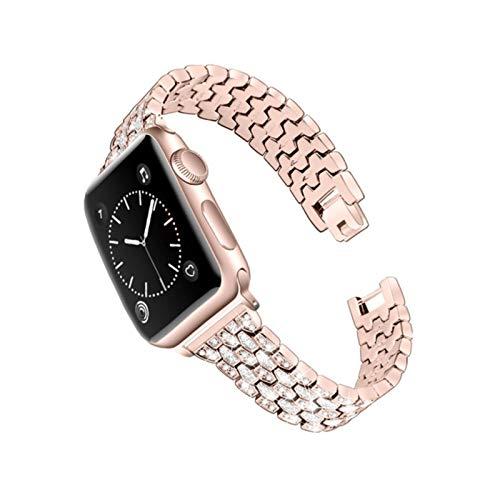 Pulsera de acero brillante para Apple Watch Serie de 6 bandas SE / 5/4/3/2 Correa de mujer elegante fresca para IWatch 44 / 40mm 42 / 38mm Belt-Pink-gold, para 42mm