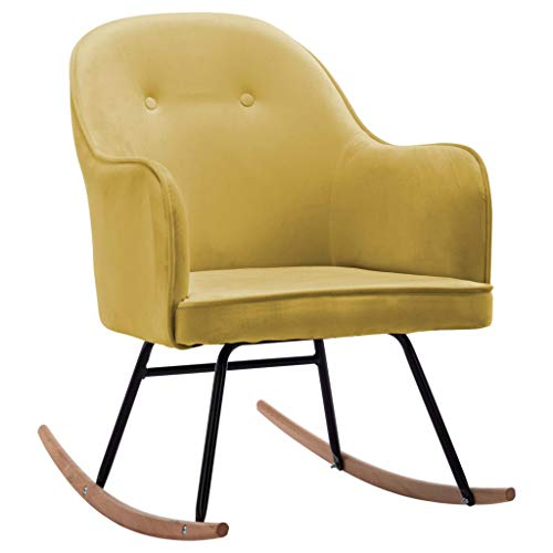 vidaXL Schaukelstuhl Schwingsessel Relaxstuhl Schwingstuhl Stuhl Polsterstuhl Wippstuhl Schaukelsessel Sessel Relaxsessel Senfgelb Samt