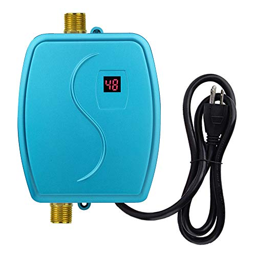 kbxstart Electric Tankless Hot Water Heater, 110V 3000W Hot Water Heater with LCD Digital Display for Hand/Face/Bowl Bathroom Kitchen Washing, Version 01- Blue