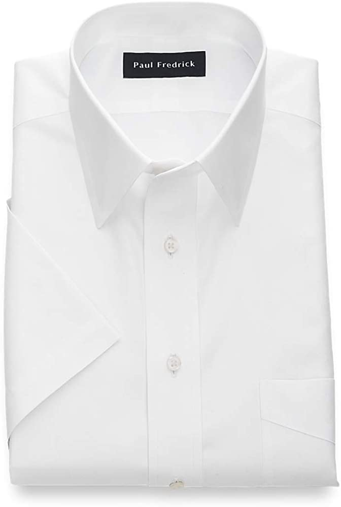 Paul Fredrick Men's Classic Fit Non-Iron Cotton Solid Short Sleeve Dress Shirt