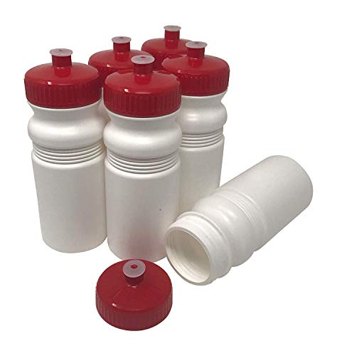 CSBD 20 oz Sports Water Bottles, 6 Pack, Reusable No BPA Plastic, Pull Top Leakproof Drink Spout, Blank DIY Customization for Business Branding, Fundraises, or Fitness White Bottle Red Lids