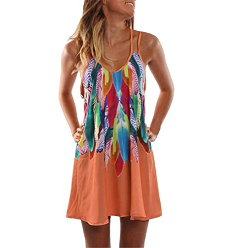 Vestido Playa Mujer Verano Estampado De Plumas Cuello Bajo Correas Hombro Dobles Mujer Vestido Temperamento Informal Personalidad Moda Transpirable Vacaciones Mujer Falda Liga E-Orange 5XL
