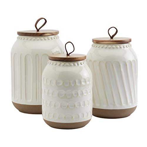 Tabletops Gallery Ceramic Canister Collection- Stoneware Designed Embossed Acacia Wood White Set, 3 Piece Embossed White Canister Set
