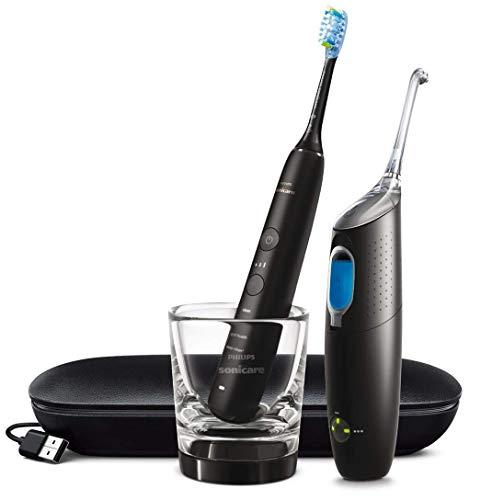 Philips Sonicare Elektrische Zahnbürste Diamondclean 9000 und Interdentalreinigungssystem Airfloss Ultra, Schwarz - 1100 g