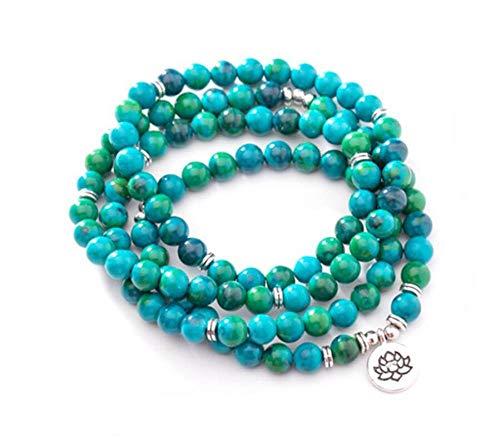Natuurlijke steen armband, kraal armband 108 mode yoga energie kraal armband 8Mm blauw groen natuursteen Lotus hanger trui ketting stretch kraal armband sieraden persoonlijke kleding accessoires