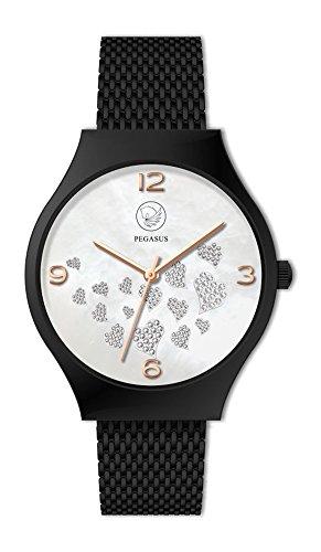 Hearts Unisex Magnetschmuck Uhr analog Automatik Schwarz mit Edelstahl Armband Energetix 4you 2522 Herz Design