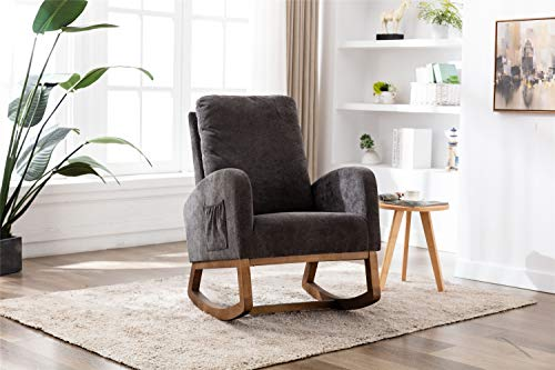 Upholstered Rocking Chair,Fabric Accent Armchair Wooden Padded Seat with 2-Side Pocket,Comfortable Rocker for Living Room, Bedroom, Study Room, Office Rocking Armchair (#1 Dark Gray)