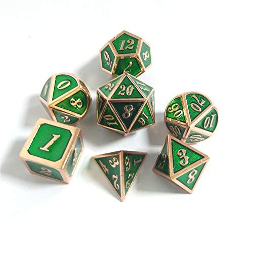 Sunnay 7 Stück Metall Würfel DND Polyhedral Solid Metall D&D Würfel Nickel Set mit Zahlen,Einsteigerset A14 Stil