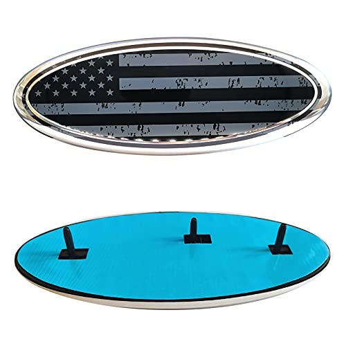 9 Inch American Flag Front Grille Rear Tailgate Emblem Badge for Ford F150, Oval 9'X3.5' Logo Also for F250, F350, Edge, Explorer, Ranger (Black)