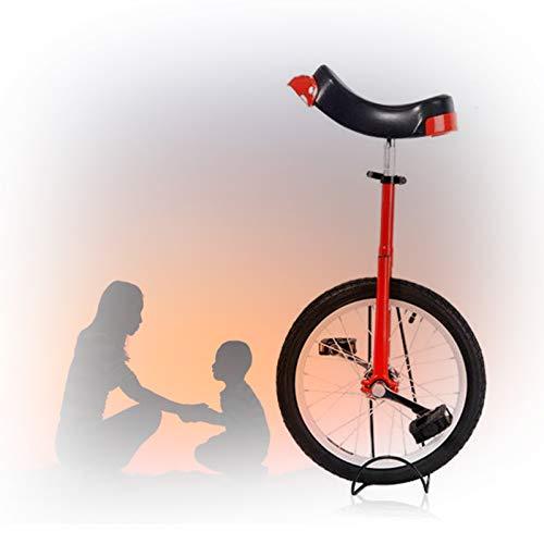 GAOYUY Trainer Einrad, Unisex 16/18/20/24 Zoll Rad Einrad Mit Alufelge Konturierter Ergonomischer Sattel Für Kinder Erwachsene (Color : Red, Size : 20 inch)