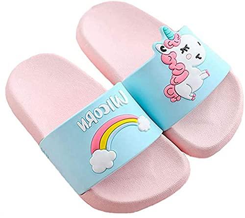 Ksnnrsng Chanclas para Niñas Zapatos de Ducha, Playa y Piscina Sandalias de Baño Antideslizantes Sandalias de Unicornio (Rosa, Numeric_30)
