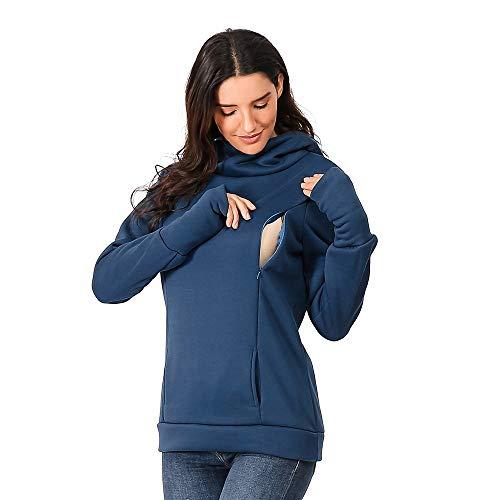 SANFASHION 2019 Hiver Nouveau Sweat Shirt Maternité,Blouse Unis Tops Coton Allaitement Encapuchonné Manche Longue Sweat Poche Haut Casual Hiver Hoodie Outwear Chic Mode (XL, X- Bleu)