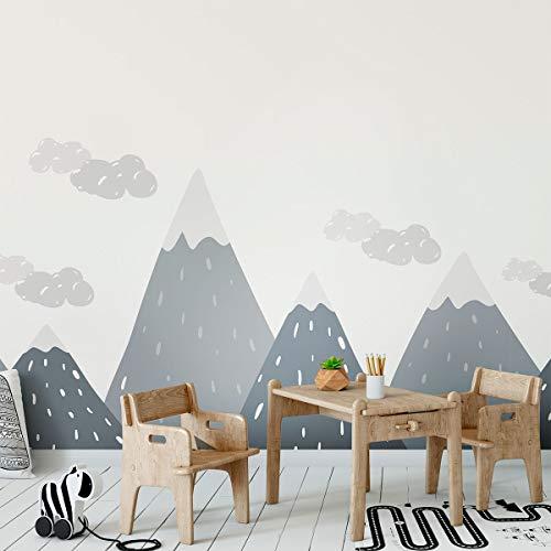Stickers muraux enfants - Decoration chambre bébé - Stickers muraux enfant - Sticker mural scandinave - Autocollant mural géant montagnes scandinaves Dinka - H50 x L140 cm