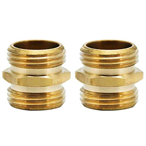 Twinkle Star 3/4 Inch Brass Garden Hose Adapter Double Male Quick Connector, 2 Pack