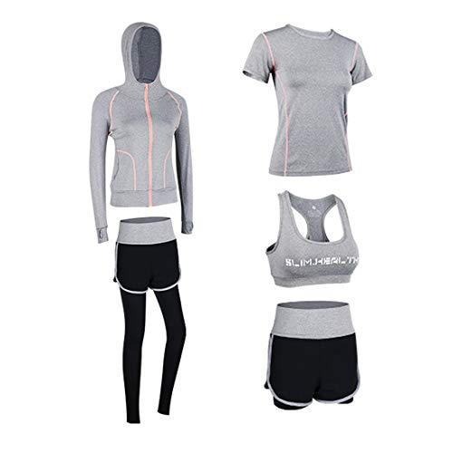 Uni-Wert Bekleidung Yoga Set, Damen Trainingsanzug Set Yoga Jogging Lauf Sportbekleidung Atmungsaktiv Schnell Trocknend Gym Fitness Outfit Sportsuit Strech Tights Training Sweatsuit 5 Stück Set