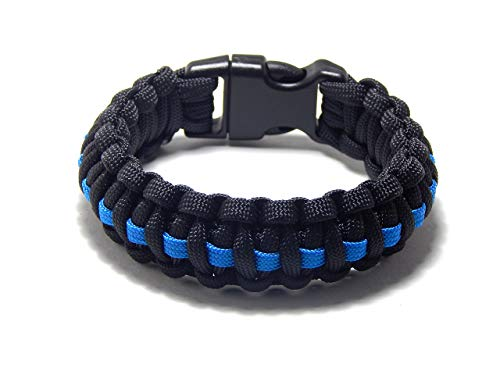Paracord Survival Armband schwarz dünn blau Linie Polizei