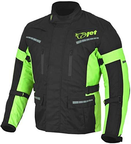 JET Chaqueta Moto Hombre Textil Impermeable con Armadura Negro Fluro (Negro Fluro, 7XL (EU 64-66))