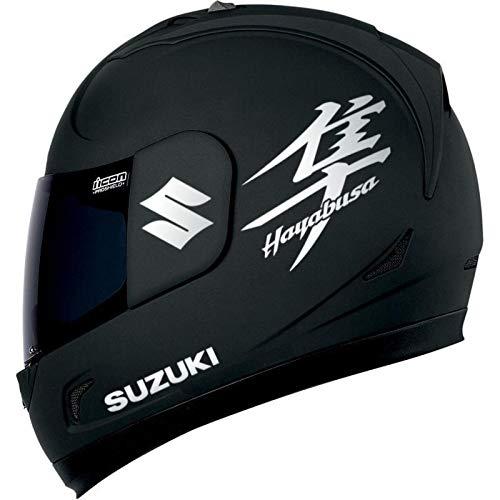 SUPERSTICKI Suzuki + Hayabusa Helmaufkleber Reflektierend Motorrad Aufkleber Bike Auto Racing Tuning aus Hochleistungsfolie Aufkleber Autoaufkleber Tuningaufkleber Hochleistungsfolie für al