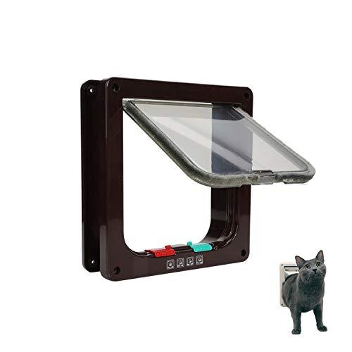 Ducomi Gattaiola Gattaiola voor katten en honden, met 4 viesentrata en uitgang, met magneetsluiting, eenvoudige montage aan muren, deuren en ramen, van hout en PVC, M, Bruin