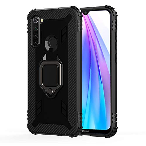 FANFO® Case for Realme 6 Cover، New [Rugged] Tactical Metal Ring Kickstand [Works with Magnetic Car Mount]، Black