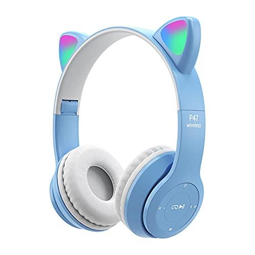 XJPB Auriculares de cancelación de Ruido Activo Auriculares Bluetooth con micrófono Auriculares inalámbricos de Graves Profundos sobre Oreja Liviana,Light Blue