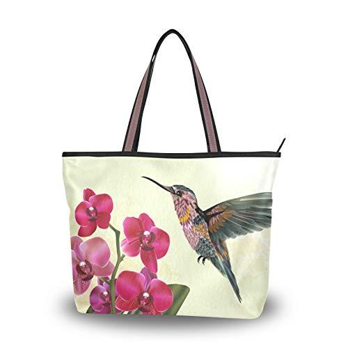NaiiaN Bolsos de hombro Bolsos para madres, mujeres, niñas, señoras, monedero para estudiantes, compras, correa liviana, bolso de mano con flores y pájaros