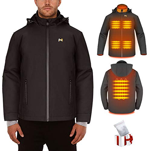 Chaqueta Térmico Electrico para Hombre y Mujer - Chaleco calefactable recargable por USB - Con cuello térmico, chaqueta cálida para Moto (Batería no incluida / Salida adoptada 5V / 2A o superior)