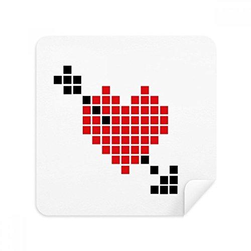 Valentine's Arror Pierce via hart Pixel Bril Schoonmaken Doek Telefoon Screen Cleaner Suede Stof 2 stks