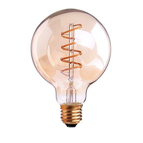 Hobaca® Amber Glass G80 (φ 80 mm) E27 Gran Vintage Edison espiral flexible LED Filamento Bombilla regulable Lámpara decorativa Decoración industrial Blanco cálido 2200K, 4W Equivalente 25W, 220V