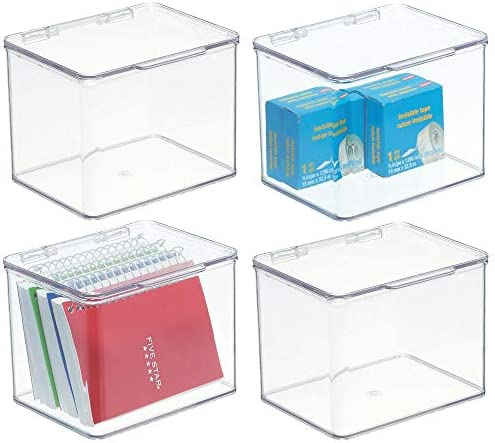 mDesign Stackable Plastic Storage Bin Box with Hinged Lid Organizer for Office Supplies Paperclips product image