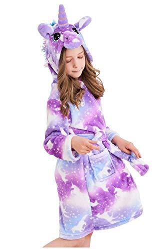 Soft Hooded Unicorn Bathrobe in Unicorns Purple