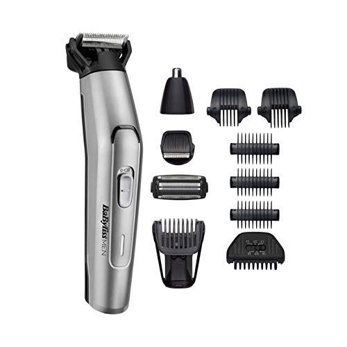 BaBylissMEN MT861E Recortadora para cuerpo, barba, nariz y orejas de uso sin cable, todo en uno, 10 en 1, cuchillas de acero inoxidable, 70 min de autonomía