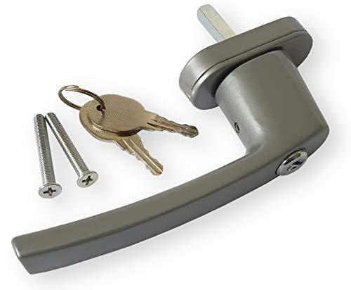 DKB Fenstergriff/Fensterolive Abschließbar Sicherheitsgriff Handhebel (Silber)