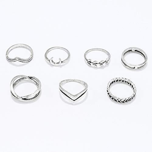 Yean - Juego de anillos bohemios de cristal y plata para nudillos, para mujeres...