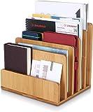Homfa Cancelleria Ufficio Portaoggetti da Scrivania in bambù, Organizzatore Scrivania da Documenti con 5 Scomparti