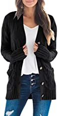 MEROKEETY Women's Long Sleeve Cable Knit Sweater Open Front Cardigan Button Loose Outerwear Black