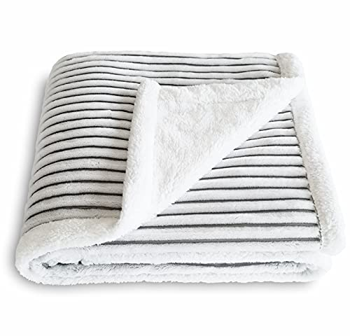 SOCHOW Sherpa Fleece Throw Blanket, Super Soft Fluffy Warm Stripe Plush Blanket for Sofa Couch Bed 50 x 60 Inches, Grey/White