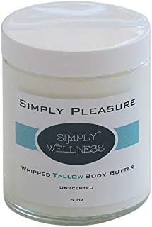 Simply PLEASURE Whipped Tallow Body Butter - Lg 6 oz - NO Chemicals or Preservatives-100% Natural - UNSCENTED - Relieves Eczema, Psoriasis, Rosacea, Scars, Dermatitis, Rashes,Skin Irritations