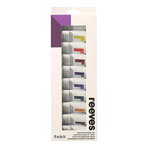 Reeves 8191001 Wassermischbare, Ölfarben Set, 10 Farben in 22 ml Tuben, Pastose Künstlerölfarben und Zubehör, für Einsteiger und Profis