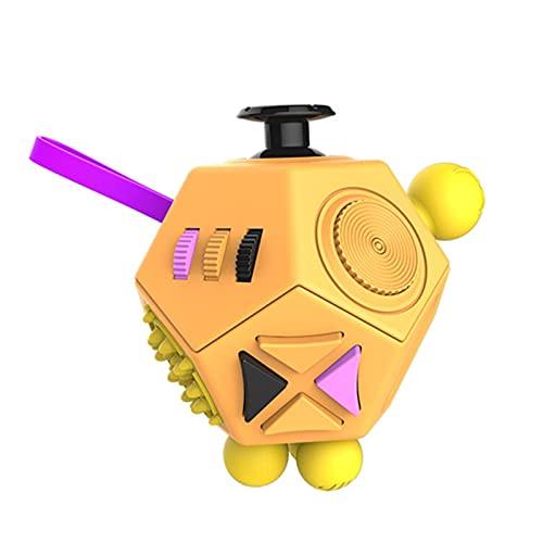 Zzx 12-seitige Dekompression Rubik's Cube Würfel Anti-Stress-Reizbarkeit Würfel-Kreatives Spielzeug Geschenk Zweiter Generation Dekompression Rubik's Cube (Color : Yellow)