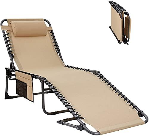 KingCamp Campingliege Sonnenliege Dreibeinliege mit Kopfkissen und Seitentasche bis 120 kg belastbar, 4-Fach verstellbar