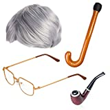 Beefunny Old Man Fancy Dress Accessory Set Grandpa Costume Accessories Inflatable Cane Glasses Pipe...