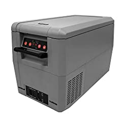 "34 Quarts or 48 cans (12FL oz) capacity; Adjustable temperature range: -8°F to 50°F; LED temperature display; ""Fast Freeze"" mode rapidly cools to -8°F Car, RV and home use; Operates as a refrigerator or freezer; work with 12/24V DC and 110V AC power;..."