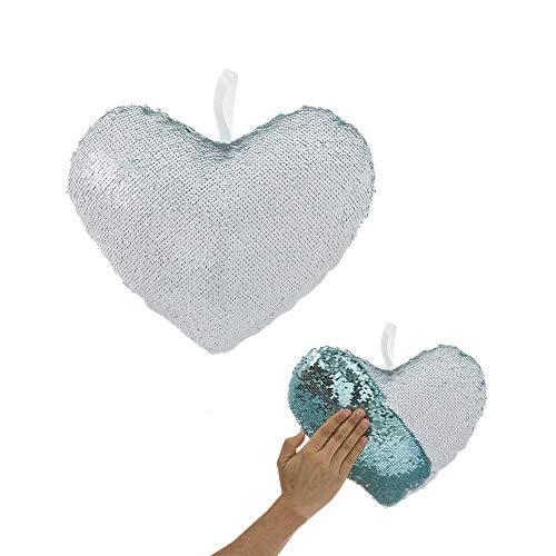 Cojín de corazón Azul de Lentejuelas de 25x13x29 cm - LOLAhome